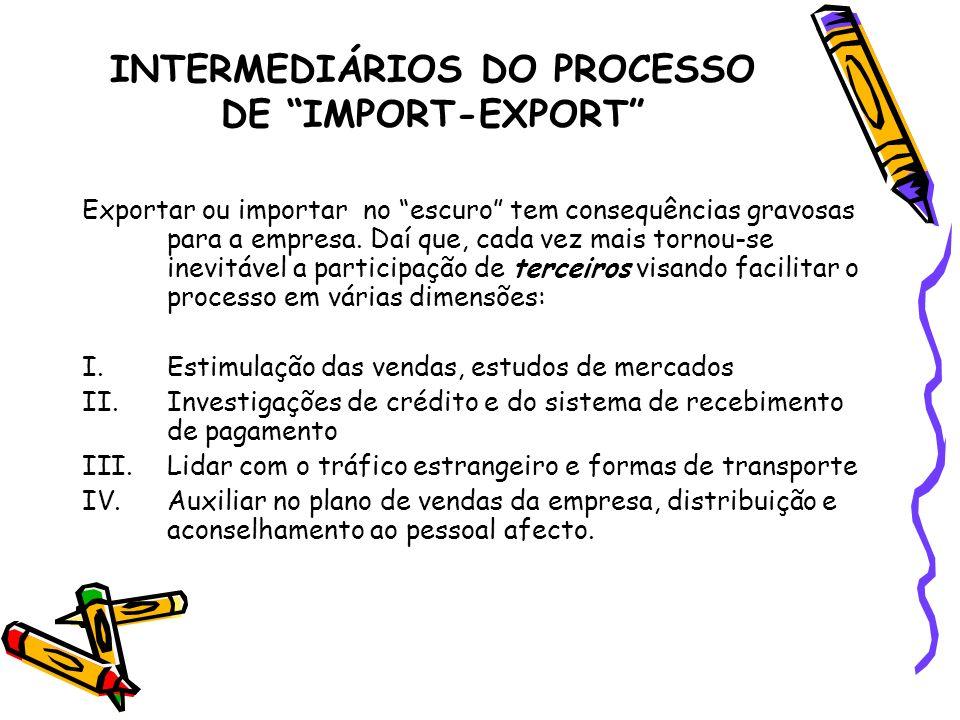 INTERMEDIÁRIOS DO PROCESSO DE IMPORT-EXPORT Exportar ou importar no escuro tem consequências gravosas para a empresa. Daí que, cada vez mais tornou-se