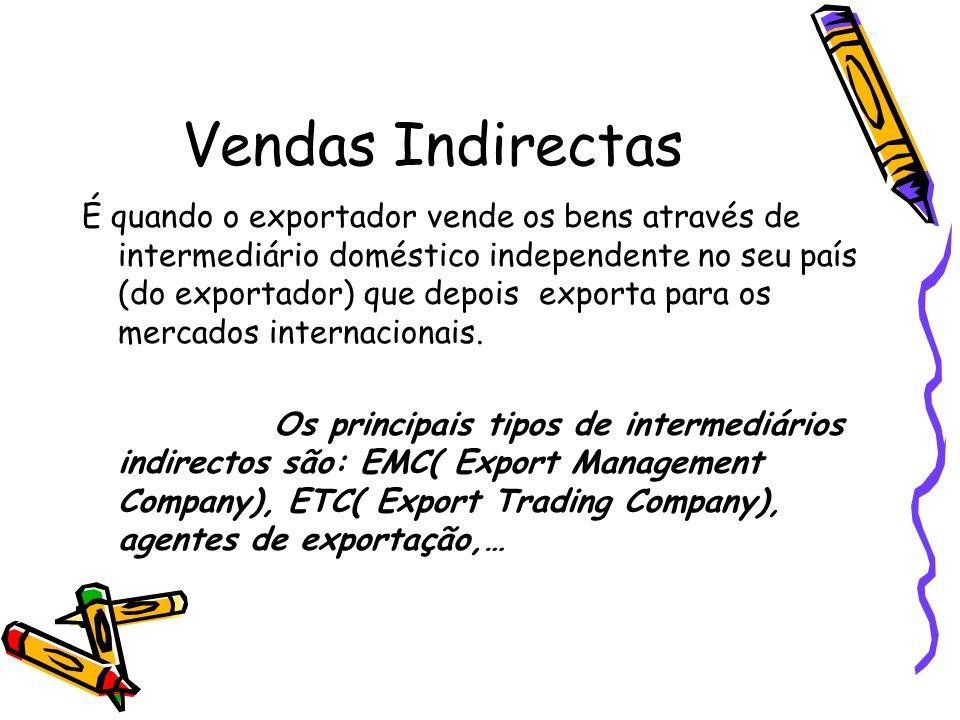 Vendas Indirectas É quando o exportador vende os bens através de intermediário doméstico independente no seu país (do exportador) que depois exporta p