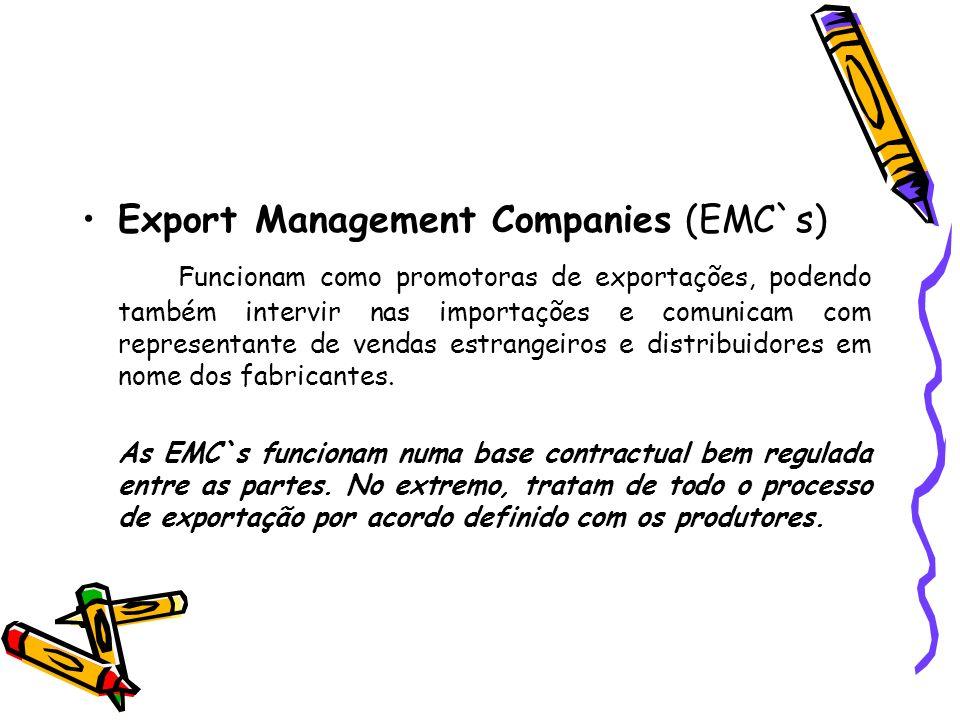 Export Management Companies (EMC`s) Funcionam como promotoras de exportações, podendo também intervir nas importações e comunicam com representante de