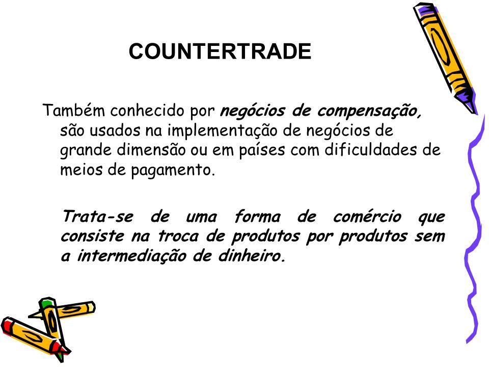 COUNTERTRADE Também conhecido por negócios de compensação, são usados na implementação de negócios de grande dimensão ou em países com dificuldades de