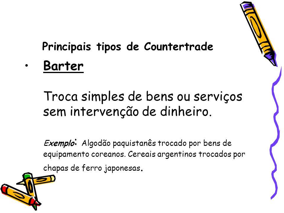 Principais tipos de Countertrade Barter Troca simples de bens ou serviços sem intervenção de dinheiro. Exemplo : Algodão paquistanês trocado por bens