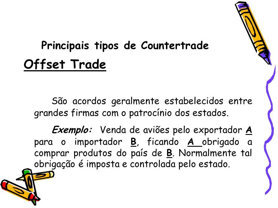 Principais tipos de Countertrade Offset Trade São acordos geralmente estabelecidos entre grandes firmas com o patrocínio dos estados. Exemplo: Venda d