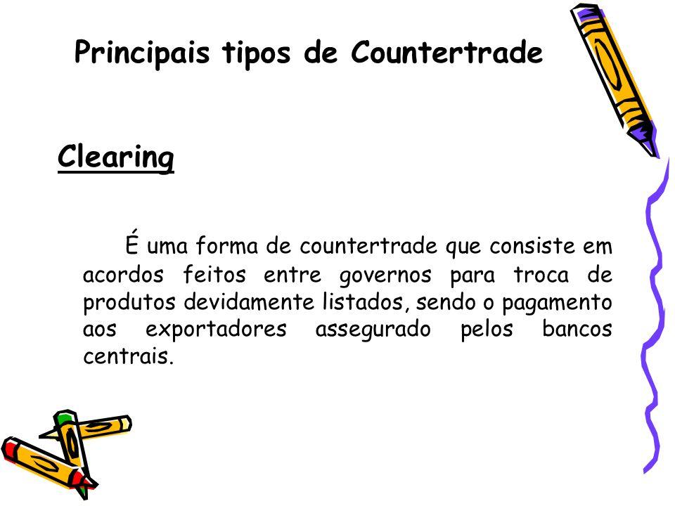 Principais tipos de Countertrade Clearing É uma forma de countertrade que consiste em acordos feitos entre governos para troca de produtos devidamente