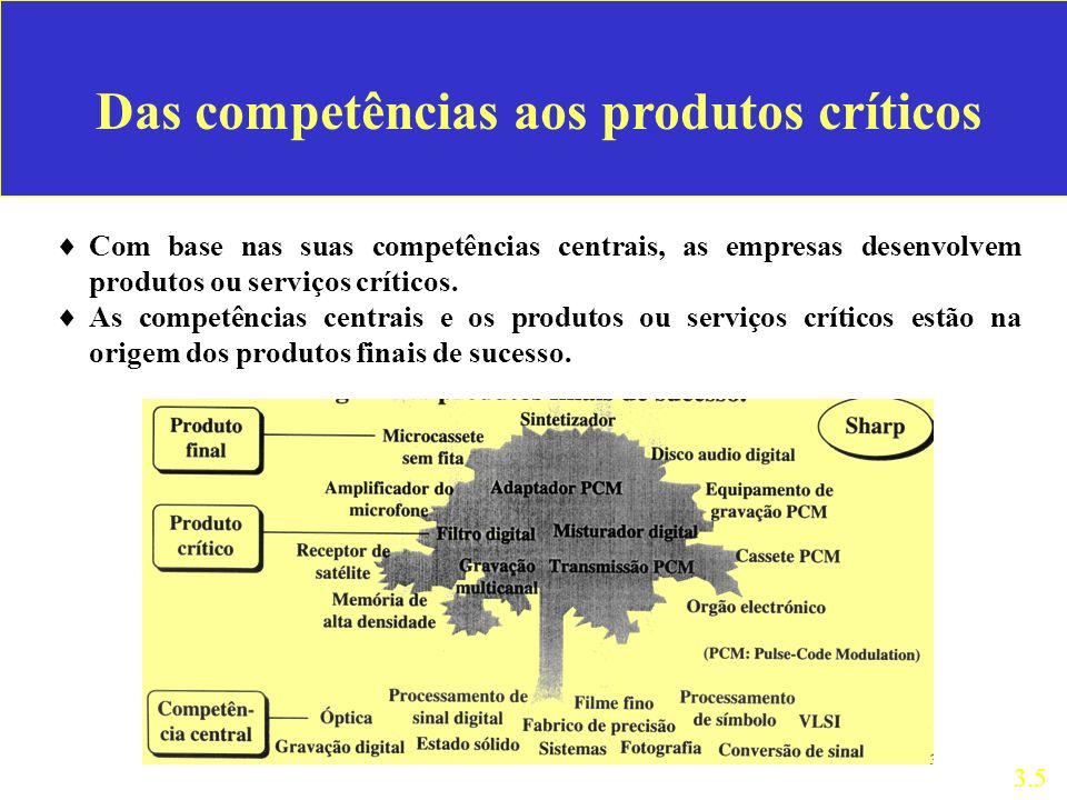 Das competências aos produtos críticos Com base nas suas competências centrais, as empresas desenvolvem produtos ou serviços críticos.