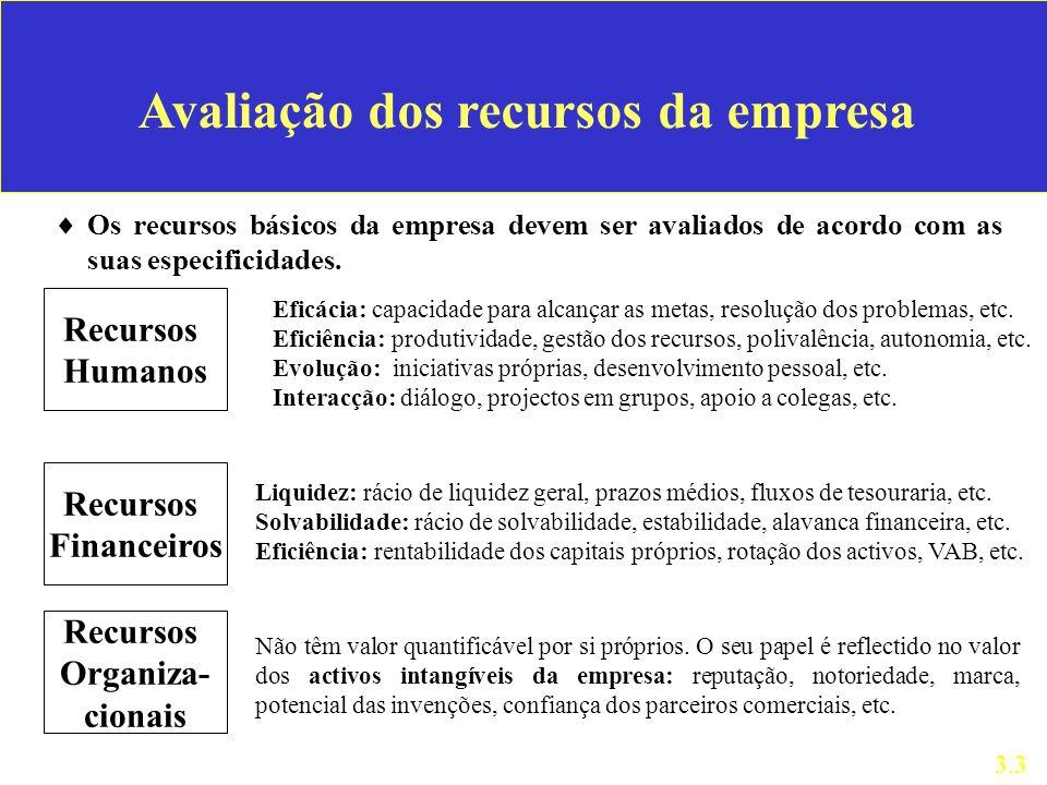Avaliação dos recursos da empresa Os recursos básicos da empresa devem ser avaliados de acordo com as suas especificidades.
