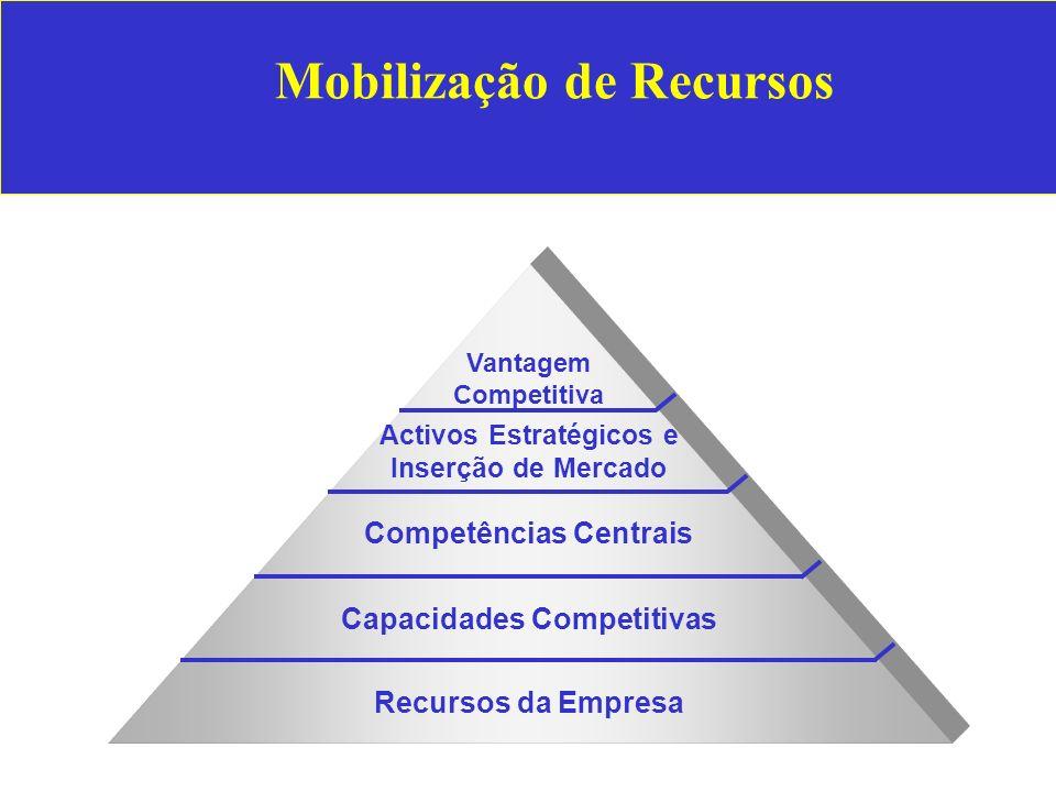 Mobilização de Recursos Vantagem Competitiva Activos Estratégicos e Inserção de Mercado Competências Centrais Capacidades Competitivas Recursos da Empresa