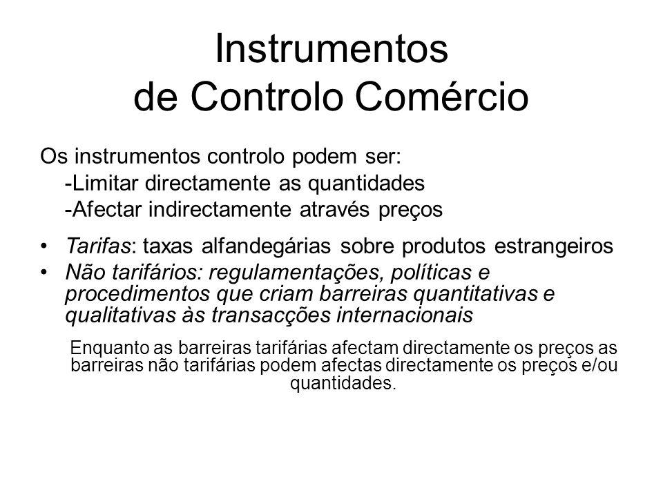 Instrumentos de Controlo Comércio Os instrumentos controlo podem ser: -Limitar directamente as quantidades -Afectar indirectamente através preços Tari