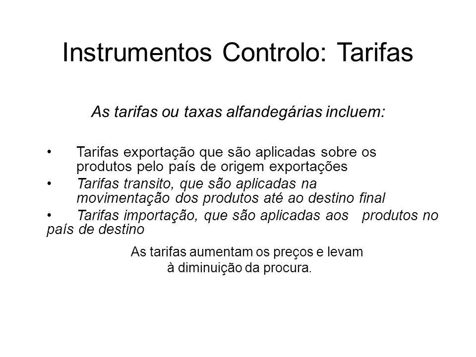 Instrumentos Controlo: Tarifas As tarifas ou taxas alfandegárias incluem: Tarifas exportação que são aplicadas sobre os produtos pelo país de origem e