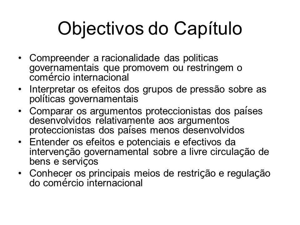 Objectivos do Capítulo Compreender a racionalidade das politicas governamentais que promovem ou restringem o com é rcio internacional Interpretar os e