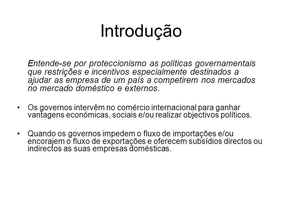 Introdução Entende-se por proteccionismo as políticas governamentais que restrições e incentivos especialmente destinados a ajudar as empresa de um pa