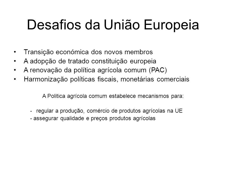 Desafios da União Europeia Transição económica dos novos membros A adopção de tratado constituição europeia A renovação da política agrícola comum (PA