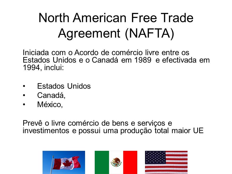 North American Free Trade Agreement (NAFTA) Iniciada com o Acordo de comércio livre entre os Estados Unidos e o Canadá em 1989 e efectivada em 1994, i