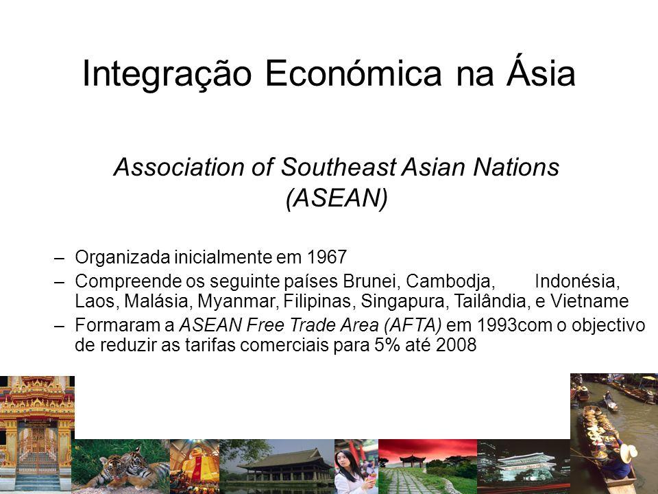 Integração Económica na Ásia Association of Southeast Asian Nations (ASEAN) –Organizada inicialmente em 1967 –Compreende os seguinte países Brunei, Ca