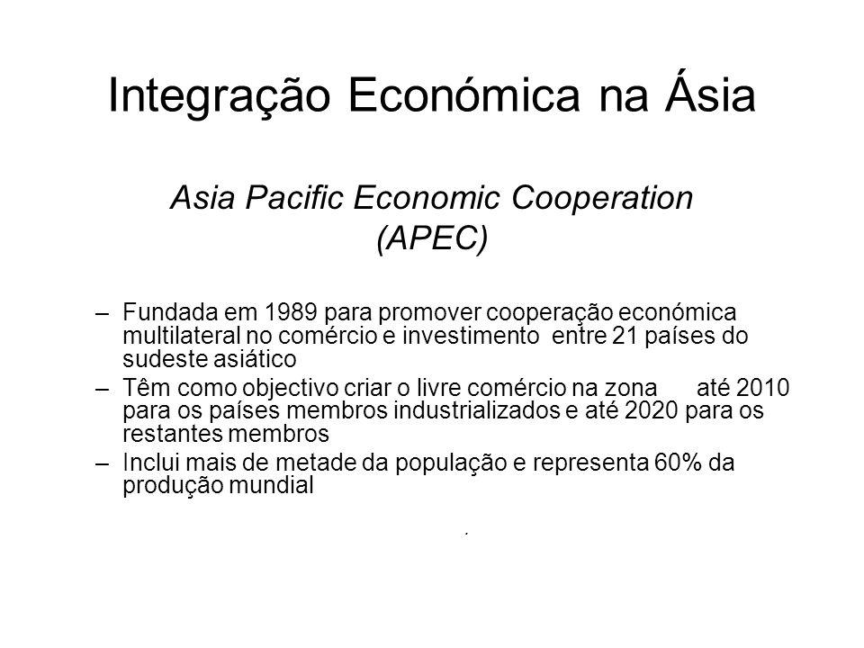 Integração Económica na Ásia Asia Pacific Economic Cooperation (APEC) –Fundada em 1989 para promover cooperação económica multilateral no comércio e i