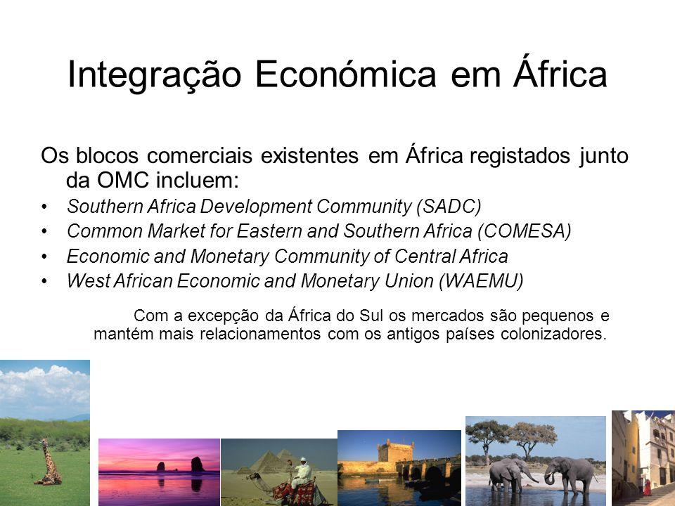 Integração Económica em África Os blocos comerciais existentes em África registados junto da OMC incluem: Southern Africa Development Community (SADC)