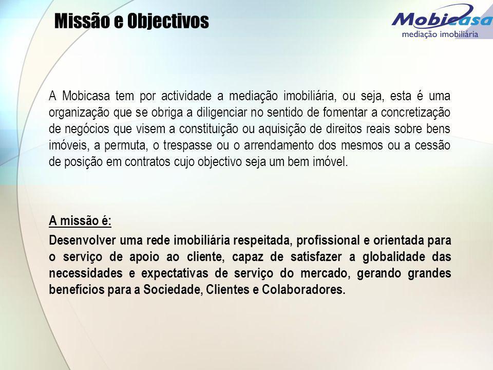 Missão e Objectivos A Mobicasa tem por actividade a mediação imobiliária, ou seja, esta é uma organização que se obriga a diligenciar no sentido de fo