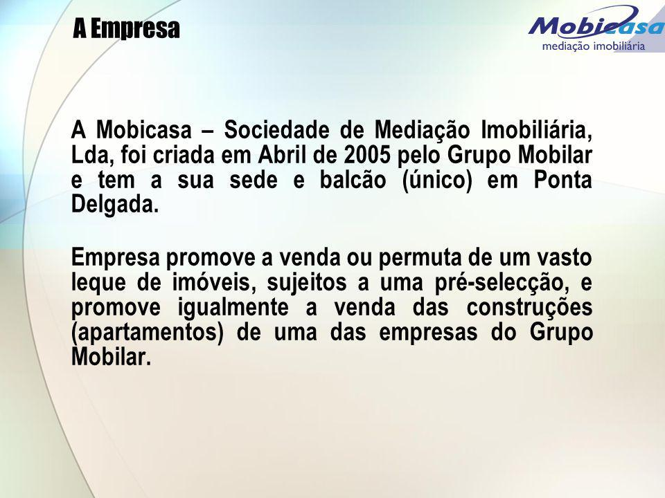 A Empresa A Mobicasa – Sociedade de Mediação Imobiliária, Lda, foi criada em Abril de 2005 pelo Grupo Mobilar e tem a sua sede e balcão (único) em Pon