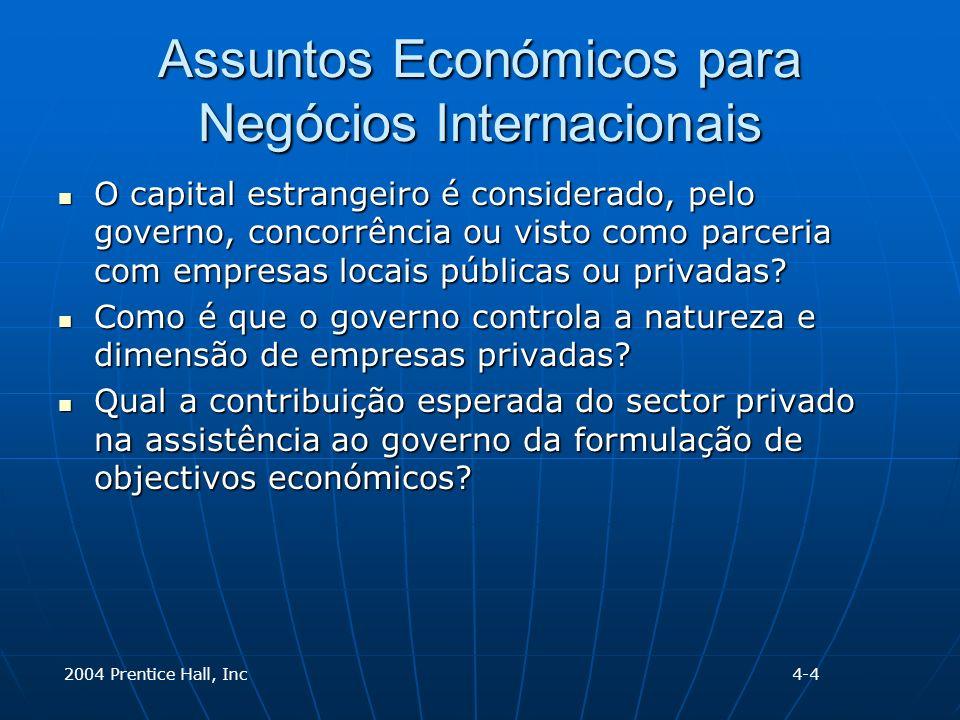 2004 Prentice Hall, Inc Assuntos Económicos para Negócios Internacionais O capital estrangeiro é considerado, pelo governo, concorrência ou visto como parceria com empresas locais públicas ou privadas.