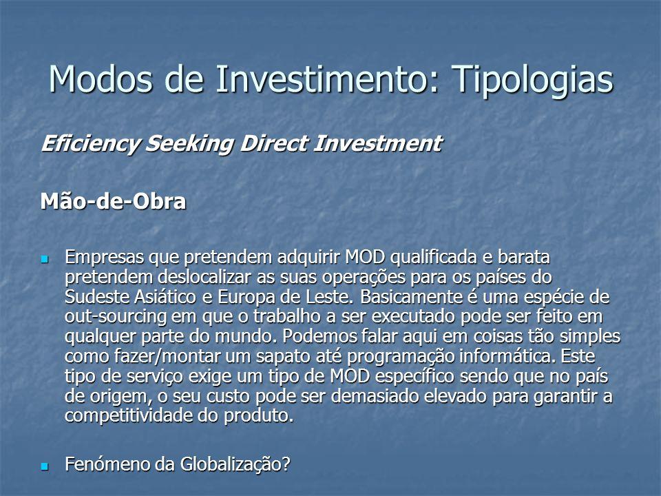 Modos de Investimento: Tipologias Eficiency Seeking Direct Investment Mão-de-Obra Empresas que pretendem adquirir MOD qualificada e barata pretendem d