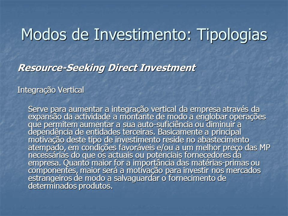 Modos de Investimento: Tipologias Resource-Seeking Direct Investment Integração Vertical Serve para aumentar a integração vertical da empresa através