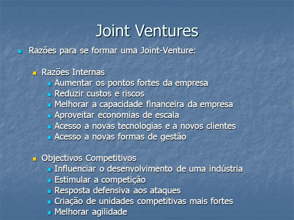 Razões para se formar uma Joint-Venture: Razões para se formar uma Joint-Venture: Razões Internas Razões Internas Aumentar os pontos fortes da empresa