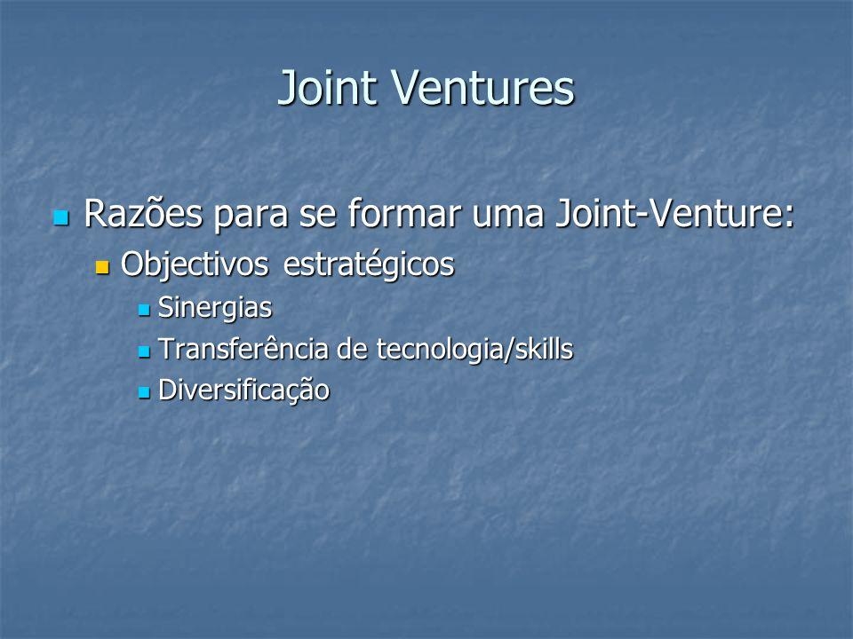 Razões para se formar uma Joint-Venture: Razões para se formar uma Joint-Venture: Objectivos estratégicos Objectivos estratégicos Sinergias Sinergias