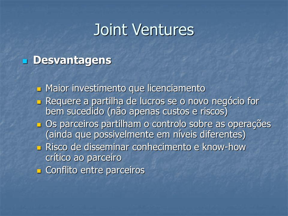 Joint Ventures Desvantagens Desvantagens Maior investimento que licenciamento Maior investimento que licenciamento Requere a partilha de lucros se o n