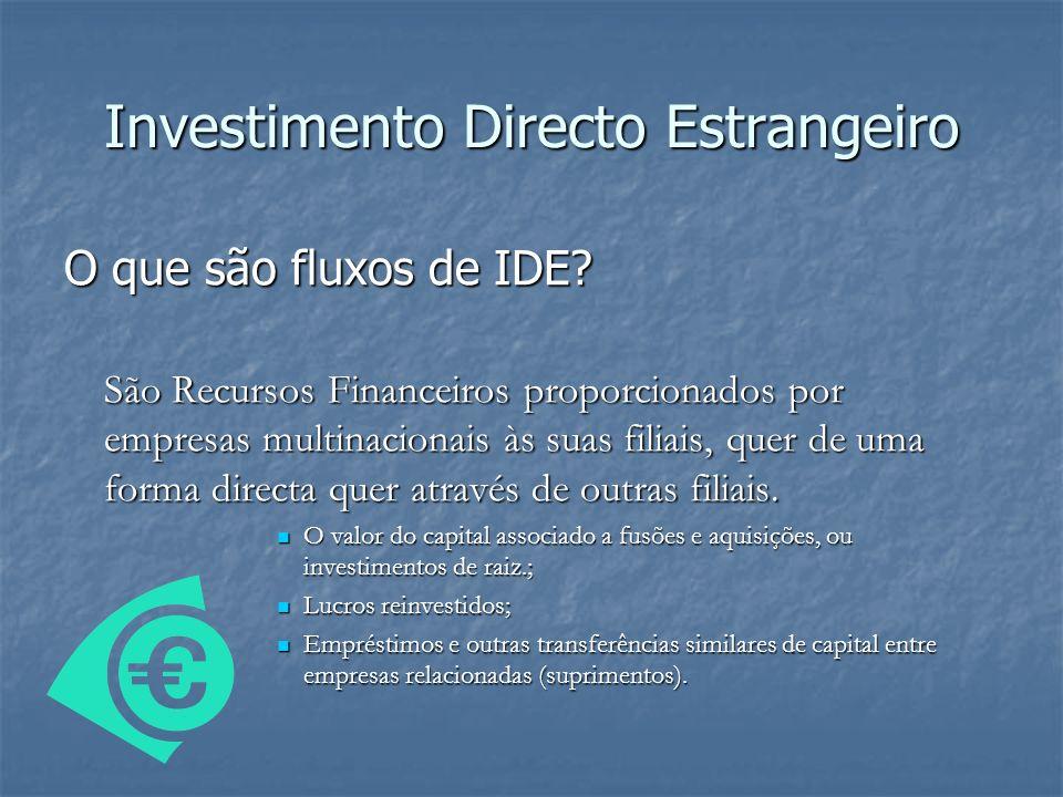 O que são fluxos de IDE? São Recursos Financeiros proporcionados por empresas multinacionais às suas filiais, quer de uma forma directa quer através d