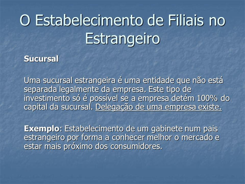 Sucursal Uma sucursal estrangeira é uma entidade que não está separada legalmente da empresa. Este tipo de investimento só é possível se a empresa det