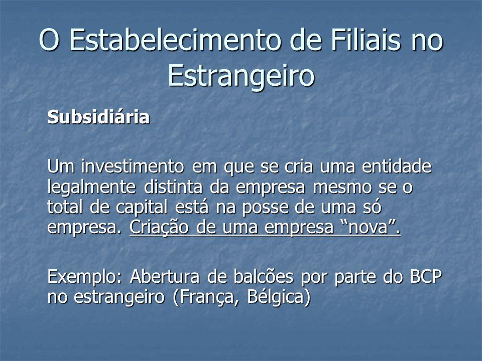 Subsidiária Um investimento em que se cria uma entidade legalmente distinta da empresa mesmo se o total de capital está na posse de uma só empresa. Cr