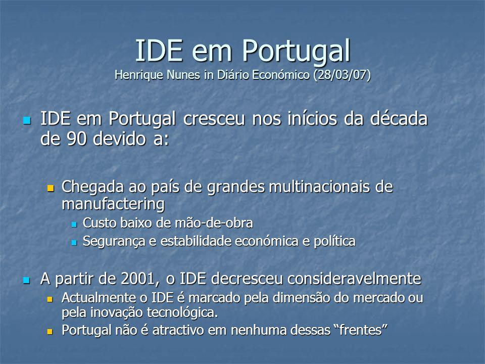 IDE em Portugal Henrique Nunes in Diário Económico (28/03/07) IDE em Portugal cresceu nos inícios da década de 90 devido a: IDE em Portugal cresceu no
