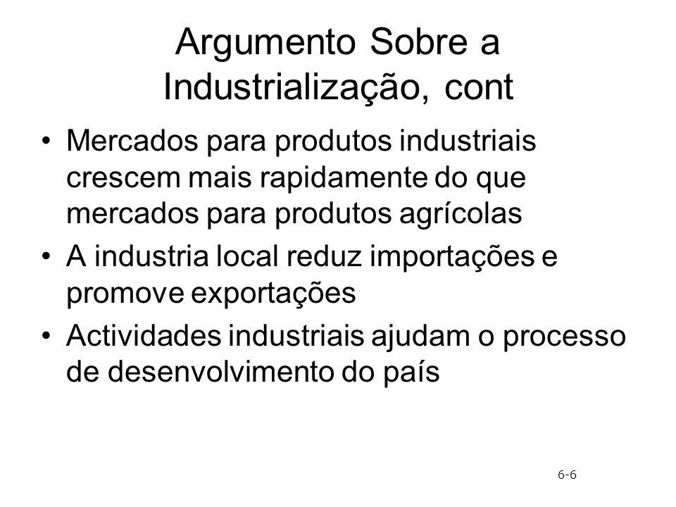 Argumento Sobre a Industrialização, cont Mercados para produtos industriais crescem mais rapidamente do que mercados para produtos agrícolas A industr