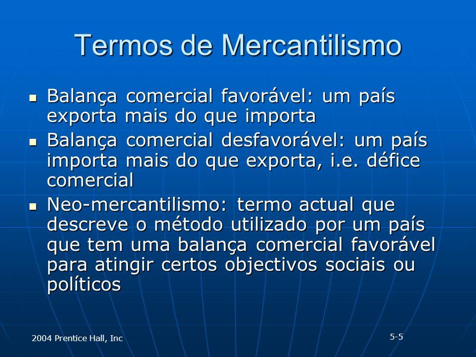 2004 Prentice Hall, Inc Termos de Mercantilismo Balança comercial favorável: um país exporta mais do que importa Balança comercial favorável: um país exporta mais do que importa Balança comercial desfavorável: um país importa mais do que exporta, i.e.