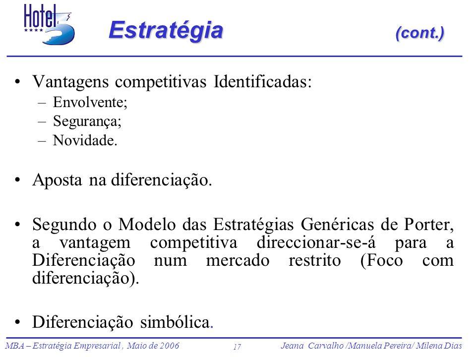 Jeana Carvalho /Manuela Pereira/ Milena Dias MBA – Estratégia Empresarial, Maio de 2006Jeana Carvalho /Manuela Pereira/ Milena Dias 17 Estratégia (con