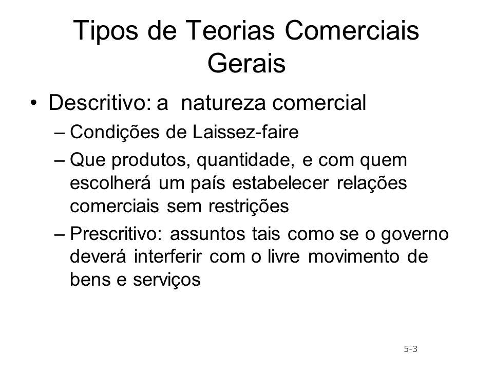 Tipos de Teorias Comerciais Gerais Descritivo: a natureza comercial –Condições de Laissez-faire –Que produtos, quantidade, e com quem escolherá um paí