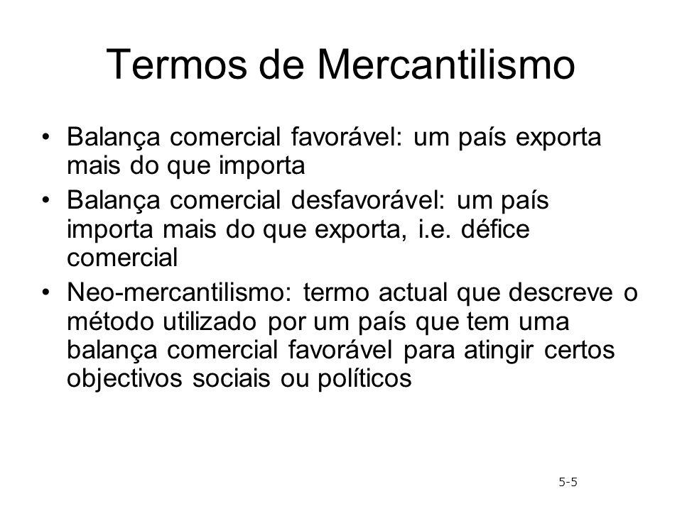 Termos de Mercantilismo Balança comercial favorável: um país exporta mais do que importa Balança comercial desfavorável: um país importa mais do que e