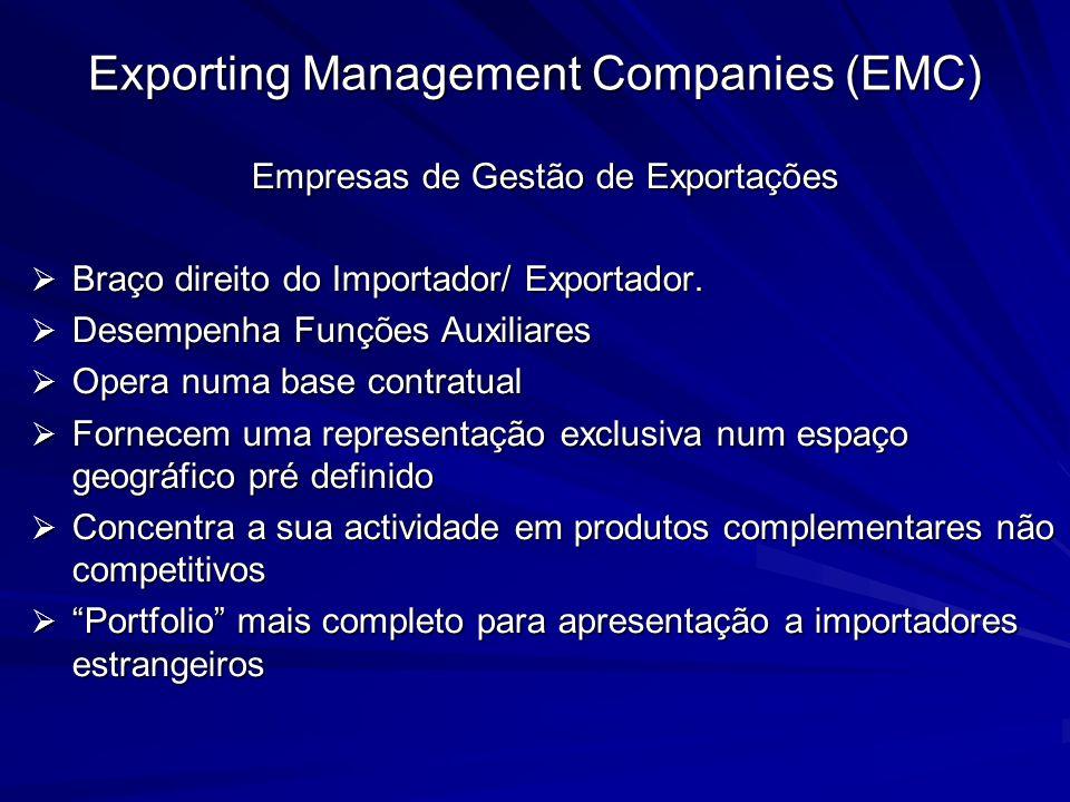 Exporting Management Companies (EMC) Empresas de Gestão de Exportações Braço direito do Importador/ Exportador. Braço direito do Importador/ Exportado
