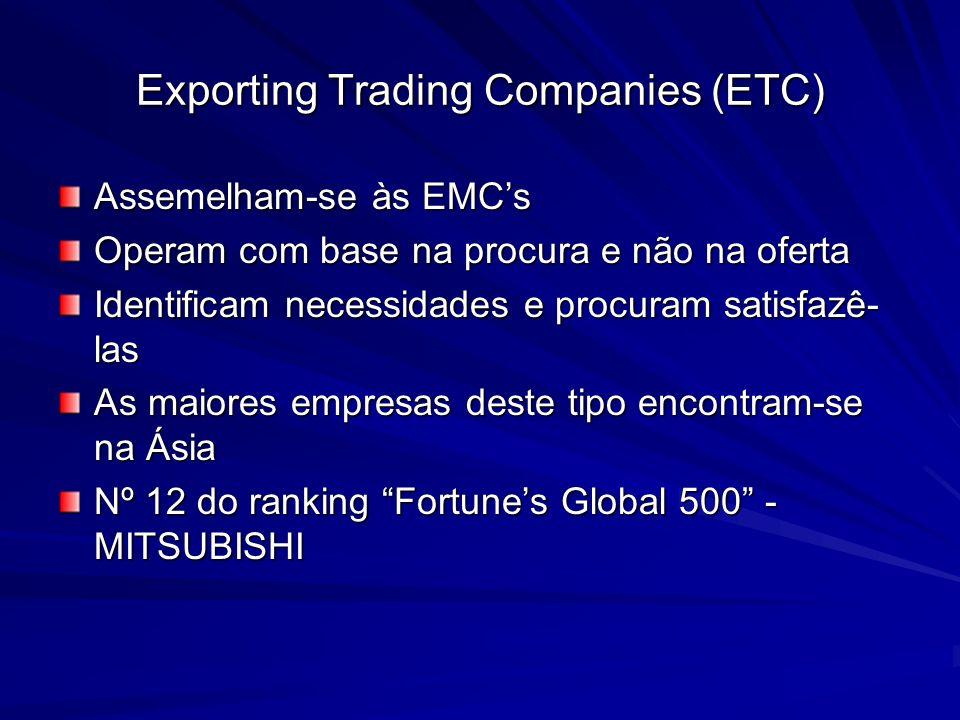 Exporting Trading Companies (ETC) Assemelham-se às EMCs Operam com base na procura e não na oferta Identificam necessidades e procuram satisfazê- las