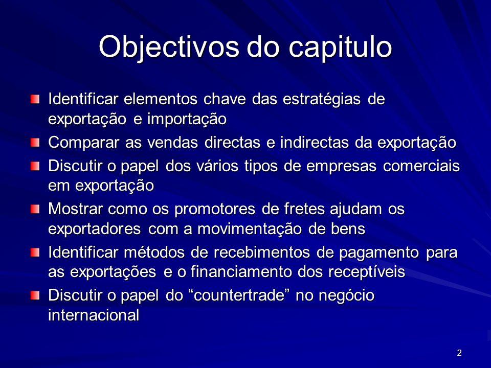 2 Identificar elementos chave das estratégias de exportação e importação Comparar as vendas directas e indirectas da exportação Discutir o papel dos v