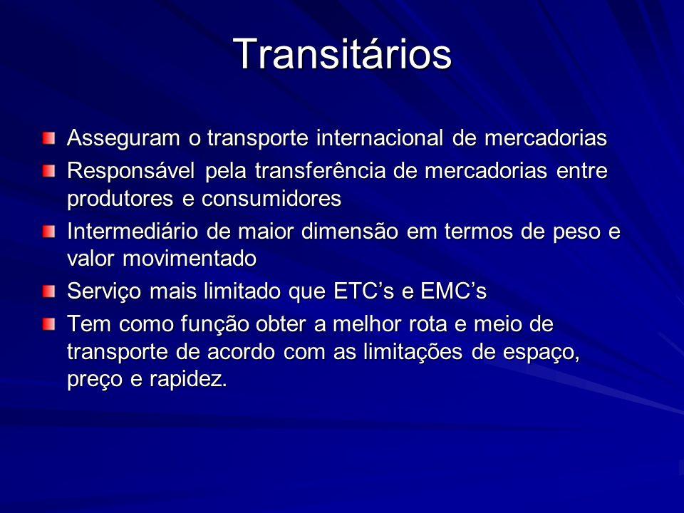 Transitários Asseguram o transporte internacional de mercadorias Responsável pela transferência de mercadorias entre produtores e consumidores Interme