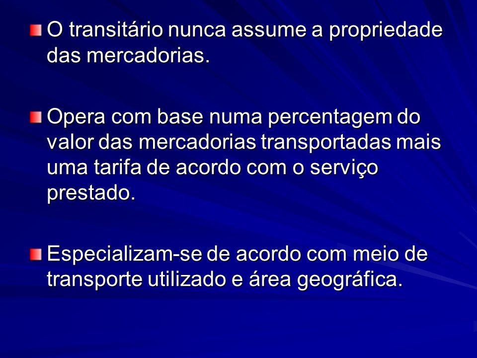 O transitário nunca assume a propriedade das mercadorias. Opera com base numa percentagem do valor das mercadorias transportadas mais uma tarifa de ac