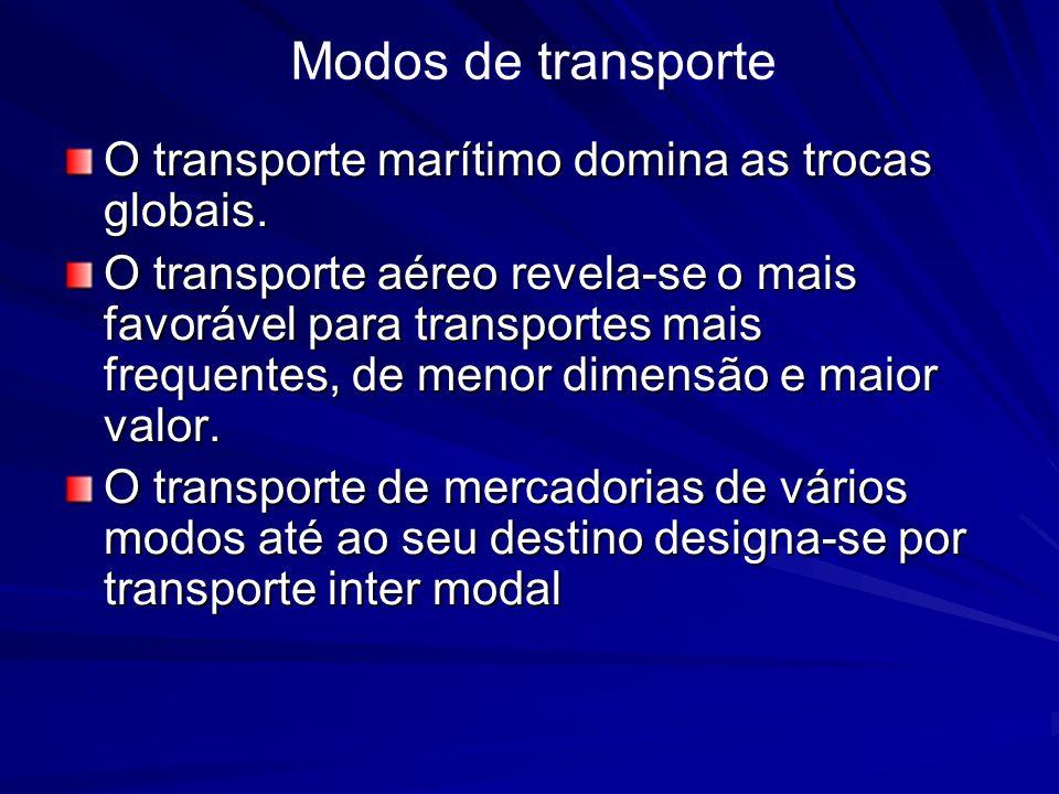 O transporte marítimo domina as trocas globais. O transporte aéreo revela-se o mais favorável para transportes mais frequentes, de menor dimensão e ma