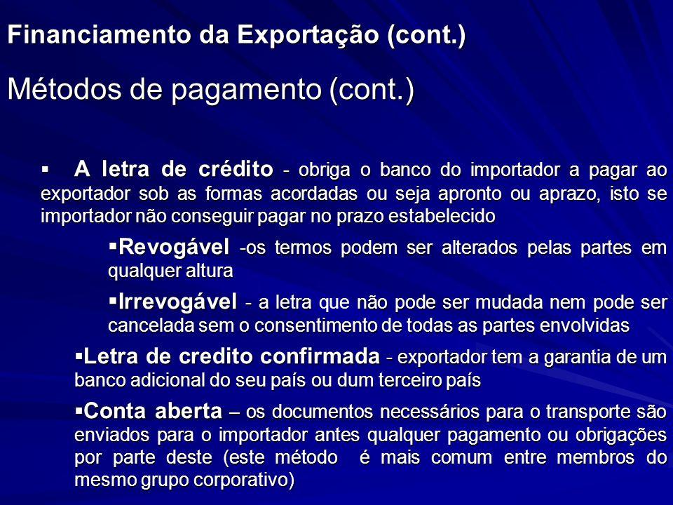 Financiamento da Exportação (cont.) Métodos de pagamento (cont.) A letra de crédito - obriga o banco do importador a pagar ao exportador sob as formas