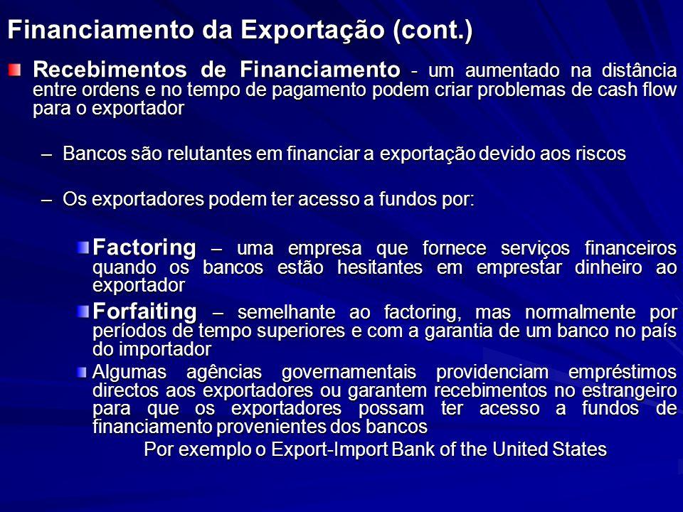 Financiamento da Exportação (cont.) Recebimentos de Financiamento - um aumentado na distância entre ordens e no tempo de pagamento podem criar problem