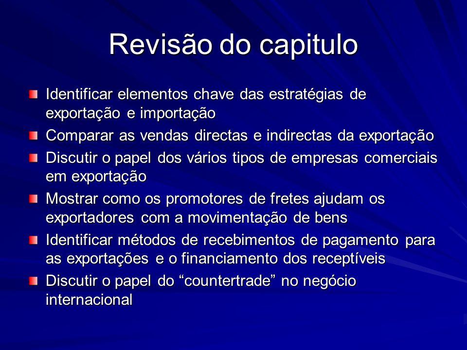 Revisão do capitulo Identificar elementos chave das estratégias de exportação e importação Comparar as vendas directas e indirectas da exportação Disc