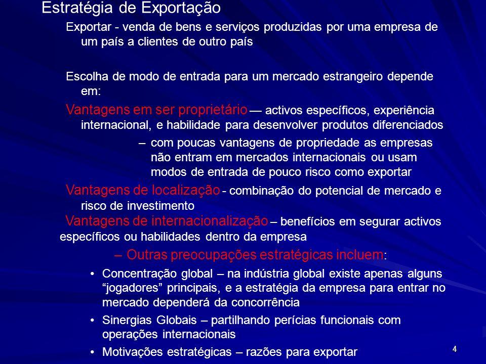 4 Estratégia de Exportação Exportar - venda de bens e serviços produzidas por uma empresa de um país a clientes de outro país Escolha de modo de entra