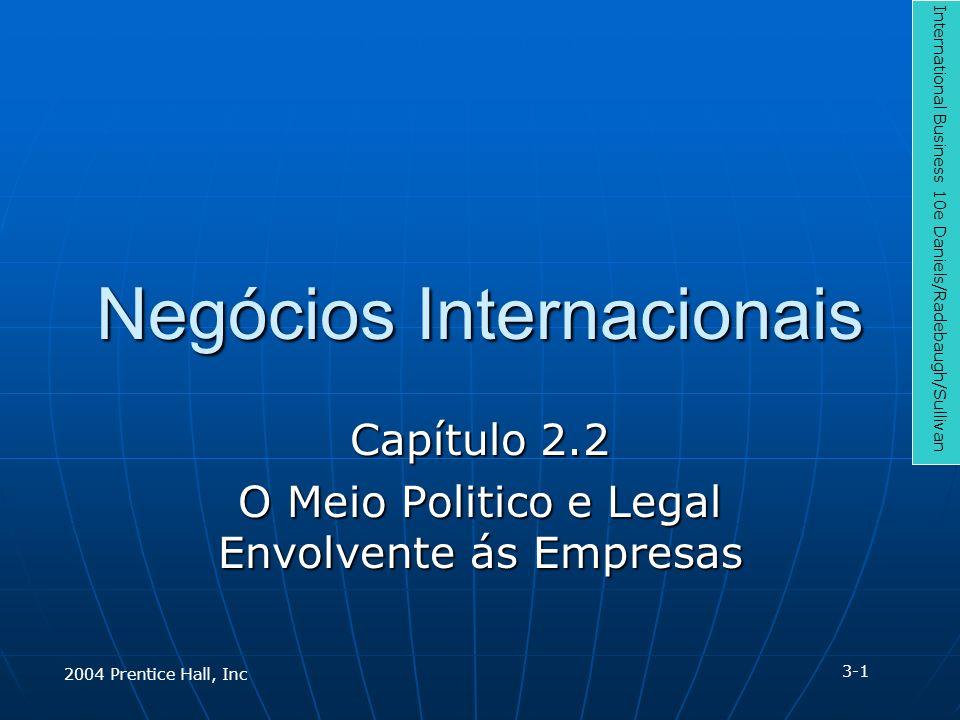 Negócios Internacionais Capítulo 2.2 O Meio Politico e Legal Envolvente ás Empresas International Business 10e Daniels/Radebaugh/Sullivan 3-1 2004 Pre