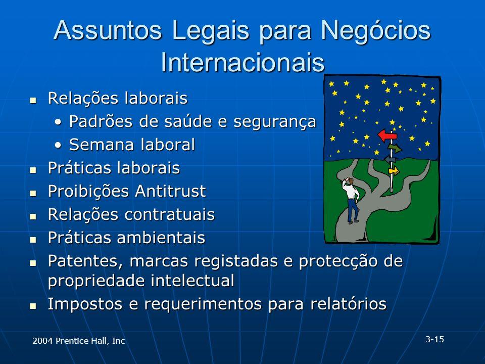 2004 Prentice Hall, Inc Assuntos Legais para Negócios Internacionais Relações laborais Relações laborais Padrões de saúde e segurançaPadrões de saúde