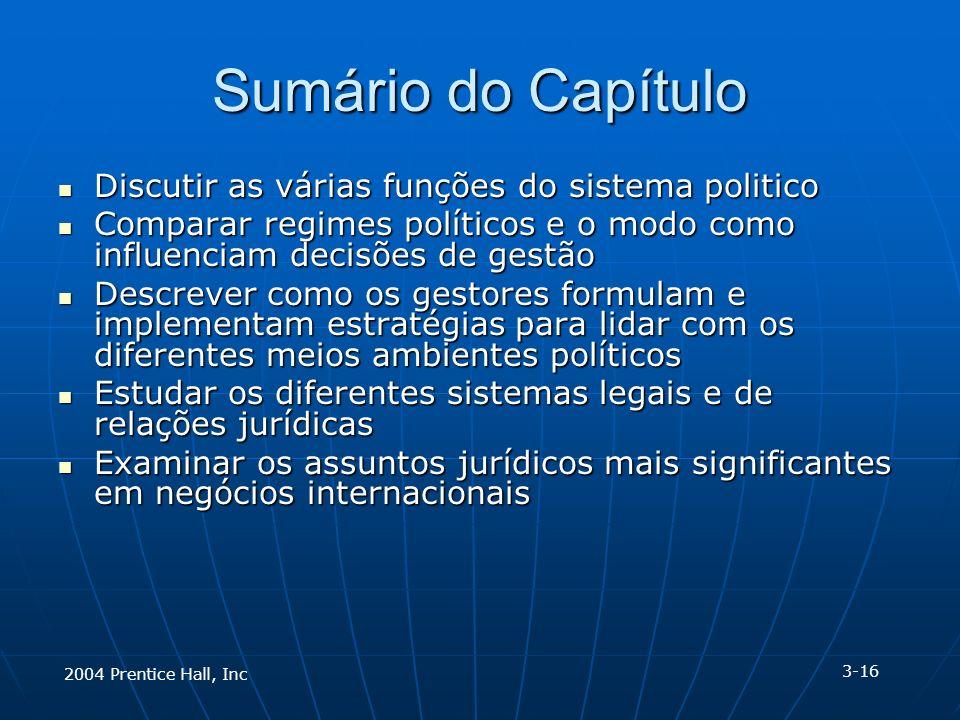 2004 Prentice Hall, Inc Sumário do Capítulo Discutir as várias funções do sistema politico Discutir as várias funções do sistema politico Comparar reg