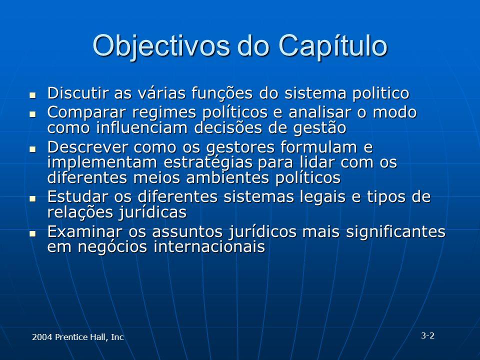 Objectivos do Capítulo Discutir as várias funções do sistema politico Discutir as várias funções do sistema politico Comparar regimes políticos e anal